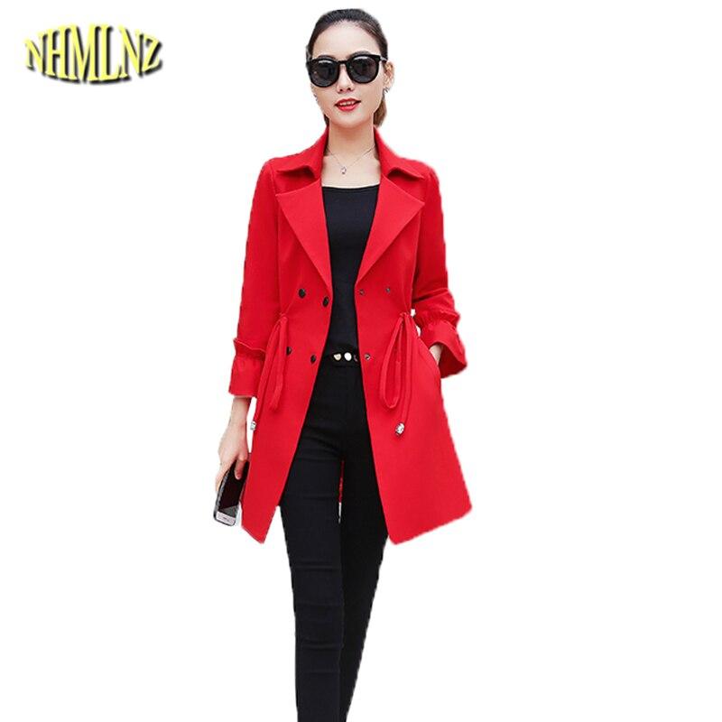 Med-length Coat Women Autumn 2018 New Solid   Trench   Coat Long sleeve Sslim fit Windbreaker Female Fashion Casual   Trench   DAN351