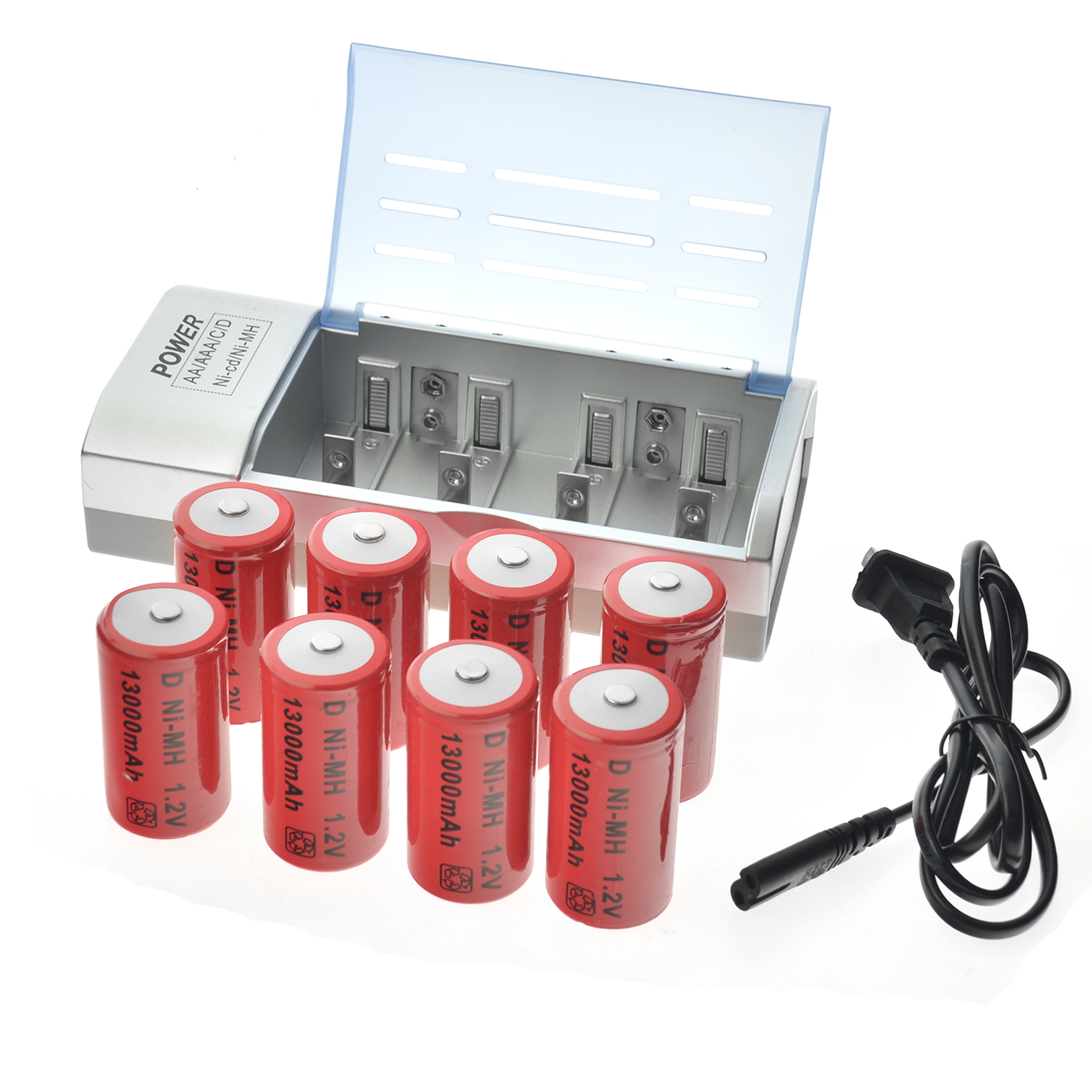 4/6/8pcs C Size D Size 9V Ni MH Rechargeable battery + Charger 10000/13000mAh LCD + Batteries EBL Battery C D Size with US Plug