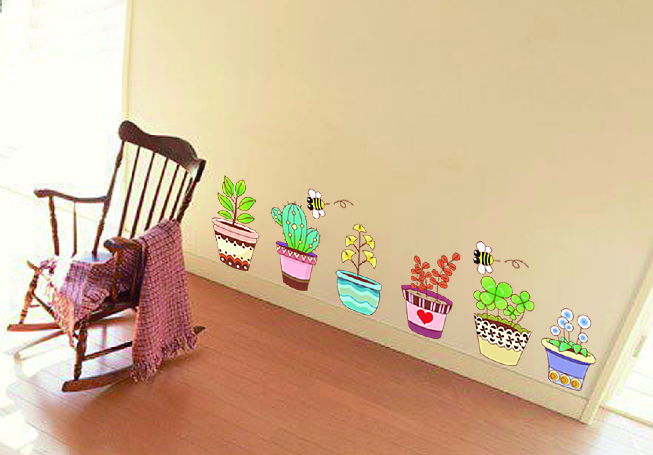 Garden Flower Bee Pot Plant Culture Decal Wall Stickers PVC DIY ...