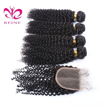 REINE KINKY CURLY  unice hair  brazilian hair  100% human hair 4bundles with closure  for black women dyed free shipping
