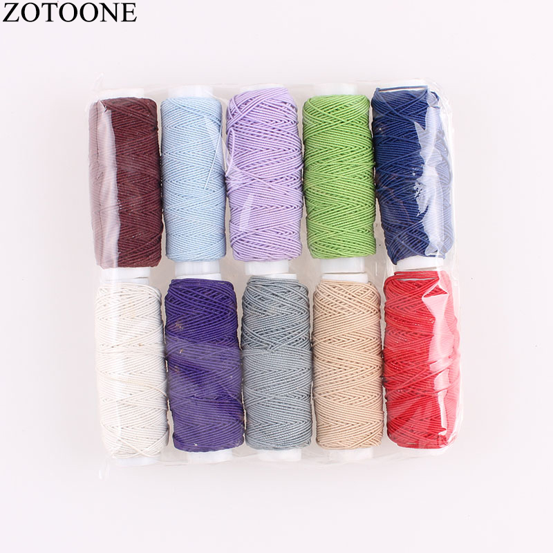 ZOTOONE 10Roll/SetElastic Thread Set Sewing Machine Yarn Thread Mixed Color Embroidery Threads for Jeans DIY Sewing Accessory C