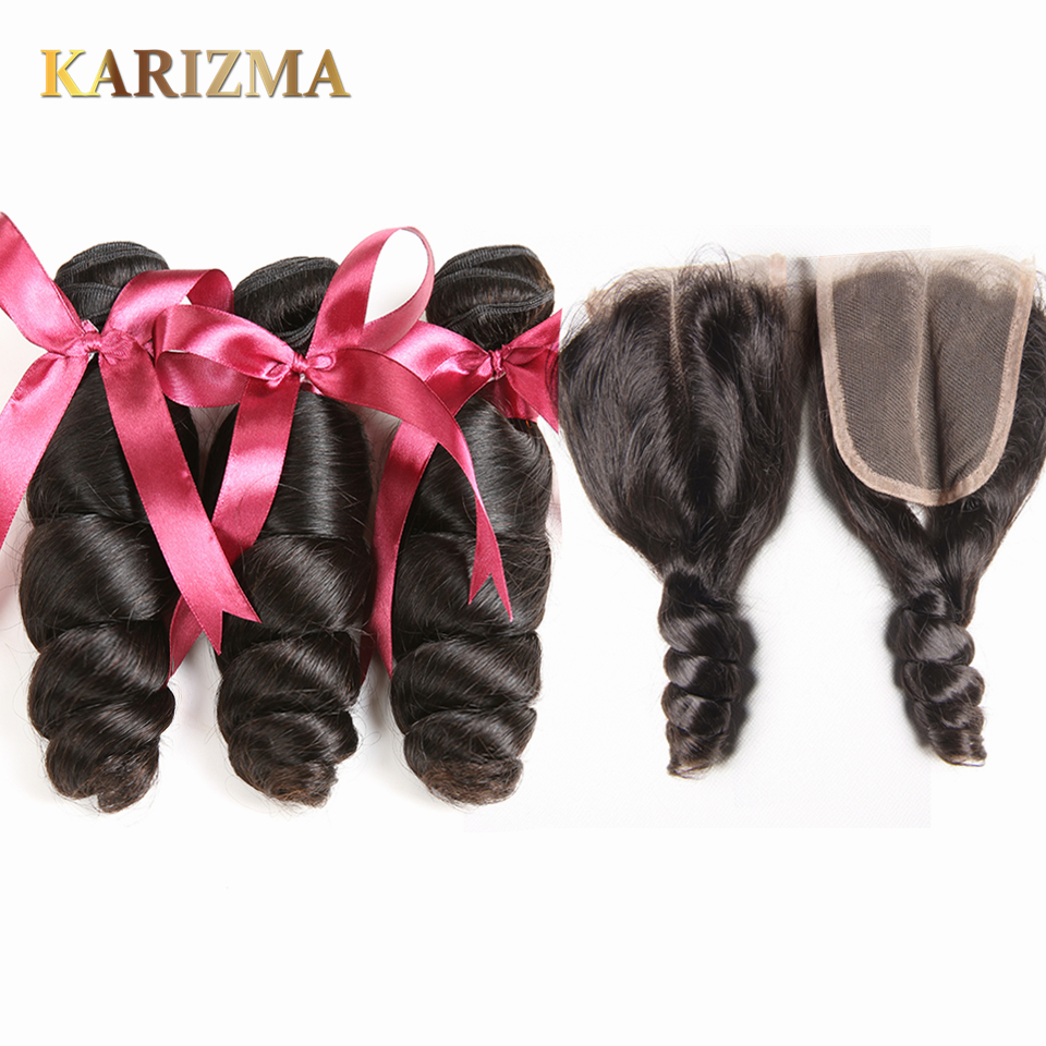 Karizma Peruvian Loose Wave Bundles With Closure Karizma Human Hair Weave Peruvian Hair Bundles With Lace