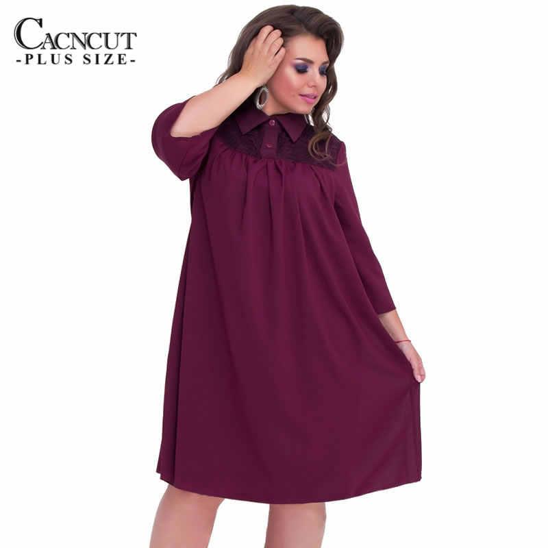 f856befaba5 2018 5XL 6XL autumn shirt dress plus size elegant straight dress patchwork  red women lace loose