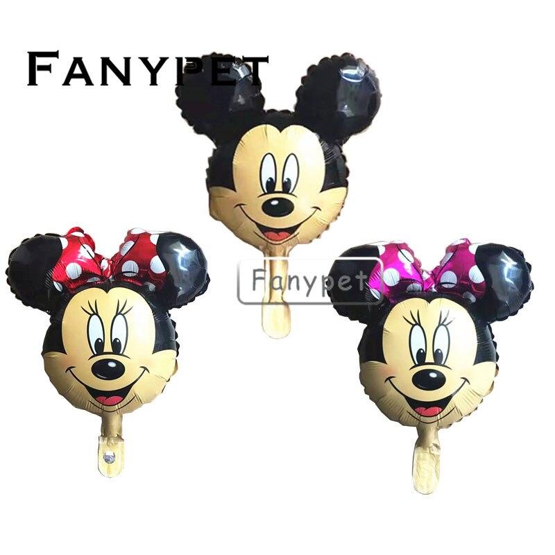 New! 200pcs/ Mini mickey head foil balloons Red Minnie theme party cartoon ballons birthday party globos kids toys baby shower