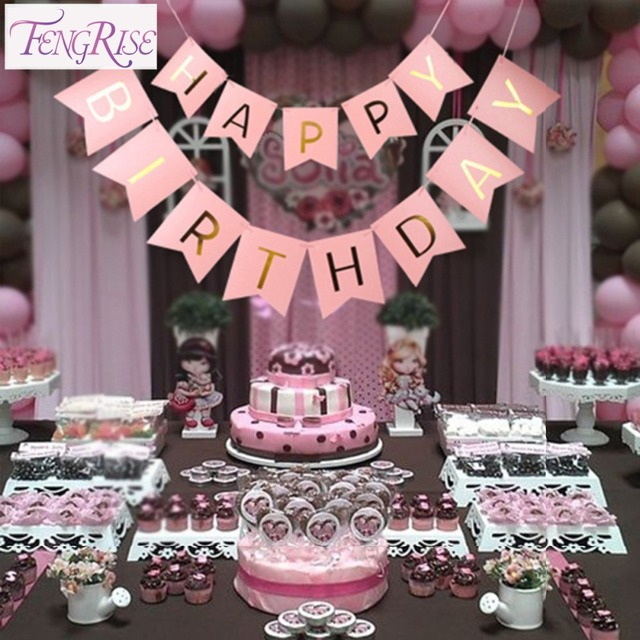 fengrise birthday party decoration kids banner garland pastel pink