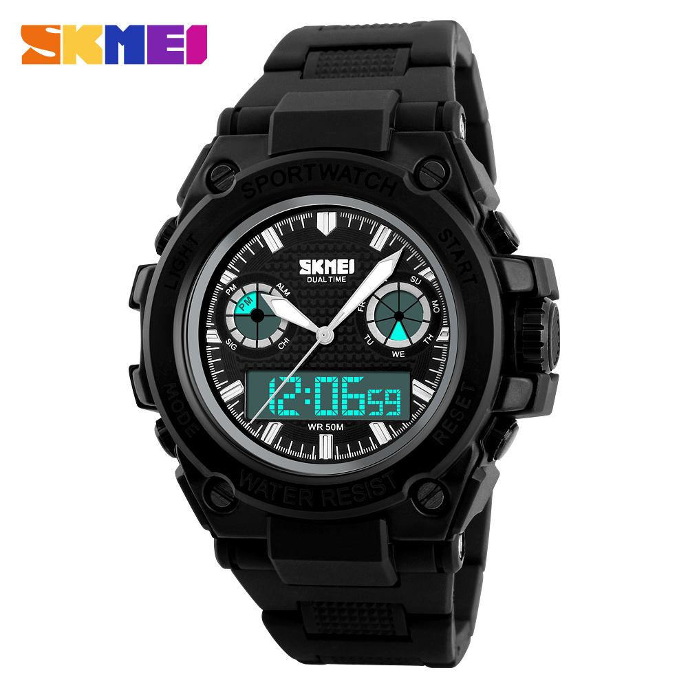 font b SKMEI b font Sport Watch Men Double Display Wristwatches Back Light Chronograph Alarm