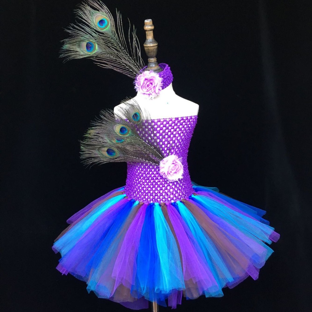 AmzBarley Girls Costume Peacock Feather Dress Layered Tutu Costume Kids Set Birthday Party Dress up Halloween Cosplay