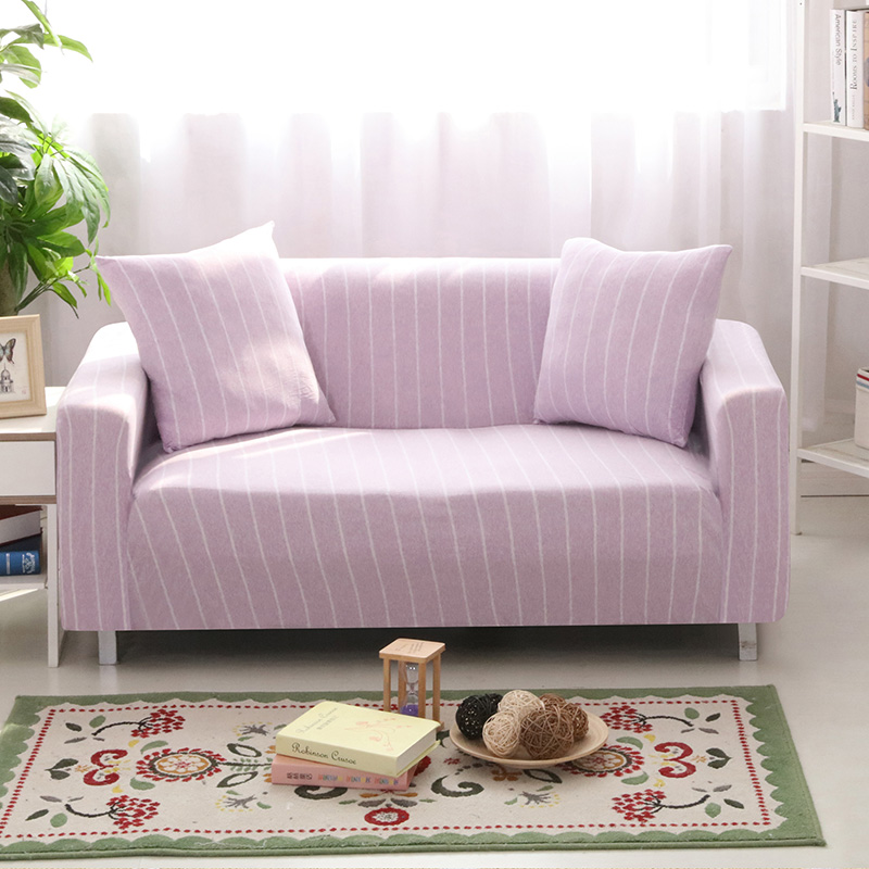 Pink Sofa Cover: Light Pink Cotton Knitted Sofa Cover Single Double Three