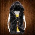 Envío gratis! piel sintética con una capucha hombres chaleco de algodón mujeres amantes del otoño invierno espesar flojos chaleco de vestir exteriores plus size / M-5XL