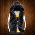 Free shipping ! Faux fur with a hood men cotton vest women lovers autumn winter thicken loose vest outerwear plus size / M-5XL