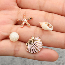 Bohemian Shell Copper Stud Earrings Without Piercing Crystal Starfish For Women Cерьги Jewelry Wholesale