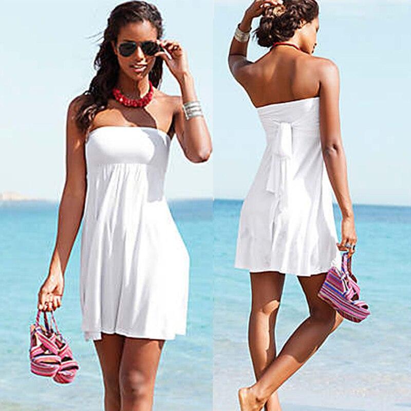 SWIMMART Bikinis cover-ups summer beach tunic swimsuit tunics for beach cover up long swimwear dresses white multi wearing