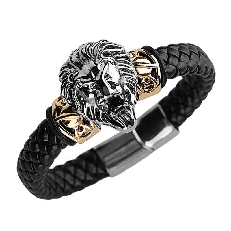 Punk Cool Men Bracelet Bangle Lion Head Woven Braided Wild Animal Vintage Stainless Steel Jewelry Bracelets for Male bileklik bobo cover new cross vintage punk stainless steel animal bracelets men charm anchor bracelets