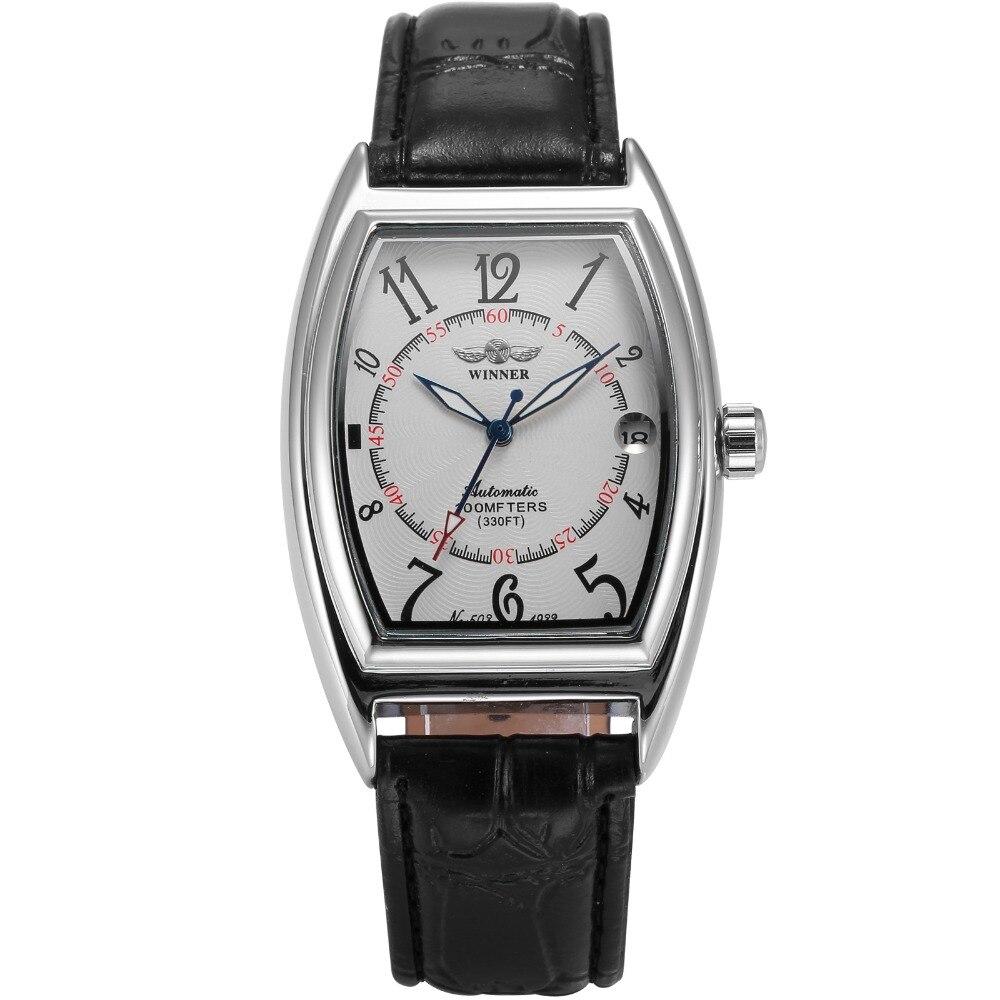 WINNER Luxury Brand Self Wind Automatic Wristwatch White Dial Black Leather Strap Auto Date Clock Men Mechanical Watch / PMW420