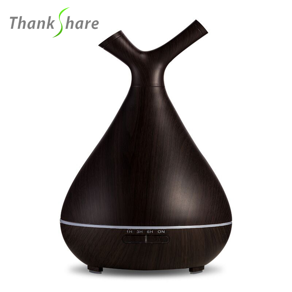 THANKSHARE 400ML Ultrasonic Air Humidifier Freshener Essential Oil Diffuser Aroma Umidificador Grain Wood Home Mist Maker