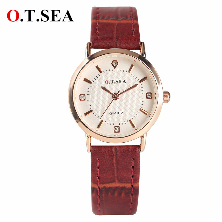 O.T.SEA Quartz Womens Watches Elegant Red/Black/White Leather Band Small Dial Lady Wrist Watch 2018 New Fashion Clock Female fashion dress watch elegant crystal dial red faux leather band strap blink quartz analog casual lady women wrist watch stylish