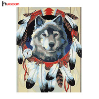 HUACAN 5D Diy Diamond Painting Wolf Sets Pictures Of Rhinestones Full Square Mosaic Diamond Painting By