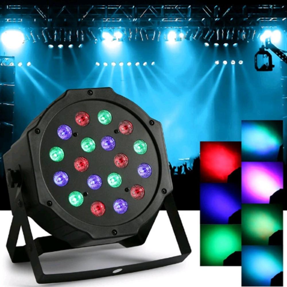 где купить LED Stage Lights 18 LED RGB PAR DMX Stage Lighting Effect DMX512 Master-Slave Flat for DJ Disco Party KTV по лучшей цене