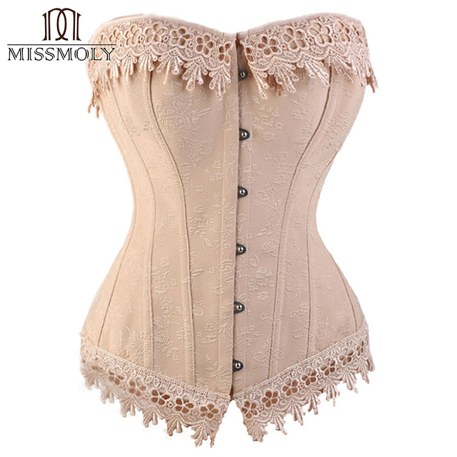 Miss Moly Womens Sexy Corset Top Bustier Overbust Nude Lace Up Back Lingerie Shapewear Cincher Waist Cincher Corsets S M L-6XL