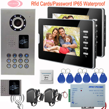"Luxury Door Phone 7"" TFT Monitor System Unit Inductive Card Home Phone Intercoms 2 Apartments Video Camera IP65 Waterproof 1v2"