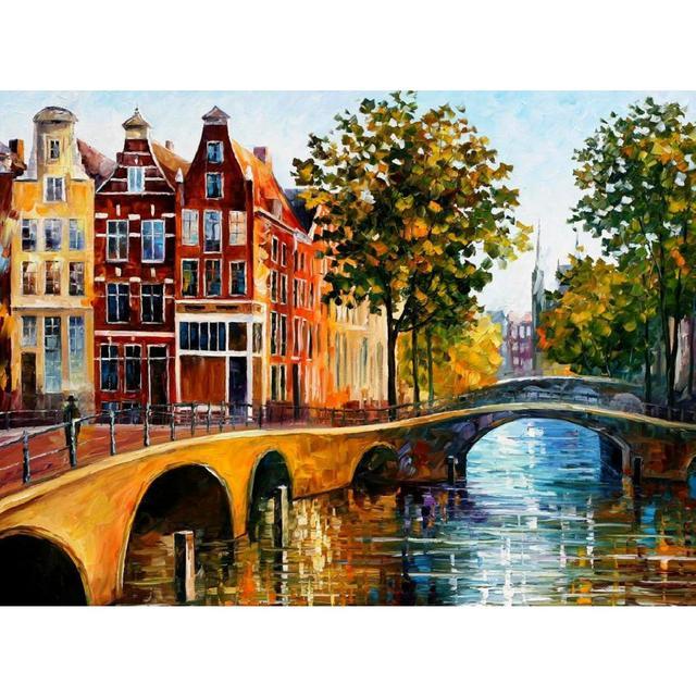 Pittura a olio della decorazione il gateway per amsterdam moderna ...