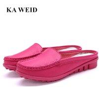 Femmes d'été demi pantoufles flip flops Cuir Véritable pantoufles sabots Chaussures Femme Plus La Taille 35-41