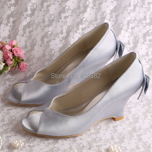(20 Colors)Wholesale Elegant Wedge Heel Women Shoes with Bows Grey Satin Fabric Open Toes