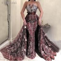 Бордовые вечерние платья длинная блестящая Съемная юбка вечернее арабское вечернее платье Стильное торжественное платье Robe De Soiree