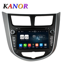 KANOR Octa Core Android 6.0 4G Car DVD Radio Cassette Recorder Player For Hyundai Solaris Accent Verna 2011 2012 2013 2014