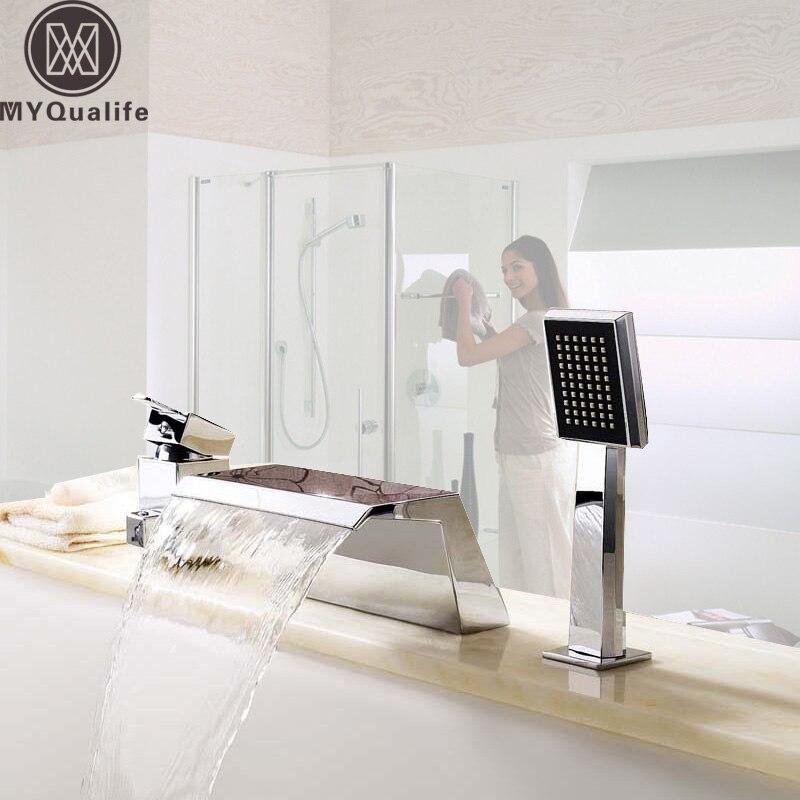 Deck Mount 3PCS Waterfall Bathtub Faucet Single Handle Handheld Tub Mixer Taps Chrome Widespread Tub Sink Tap