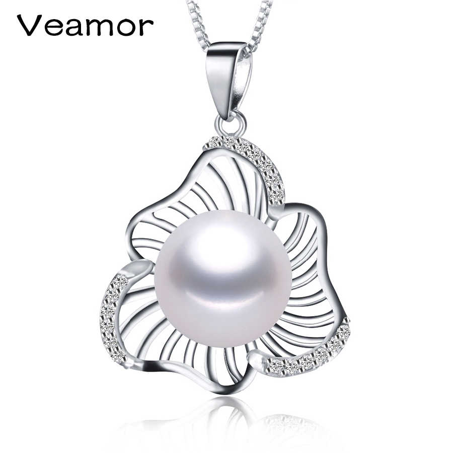 VEAMOR Fashion Women Natural Pearl Pendants Sliver-color Flower Jewelry with Necklace for Women Charm Fashion Jewelry