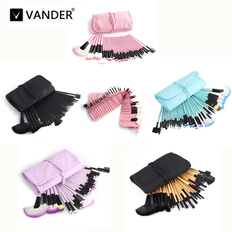 Vander 32pcs Makeup Brush Set Cosmetic 5 Colors Brushes High Quality Foundation Powder Blusher Eyeliner pincel