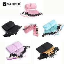 Vander 32pcs Makeup Brush Set Cosmetic 5 Colors Brushes High Quality Foundation Powder Blusher Eyeliner pincel maquiagem Kits