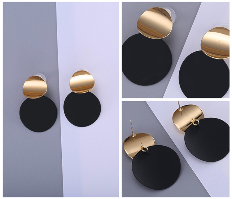 HTB19uTLi vI8KJjSspjq6AgjXXag - Unique Black Stud Earrings Trendy Gold Color Round Metal Statement Earrings for Women New Arrival wing yuk tak Fashion Jewelry
