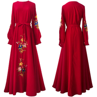 2018 Autumn Women Ethnic Style Vintage Robe Fashion Embroidery Slim A line Party Dresses Vestidos Mujer Long Sleeve Maxi Dress