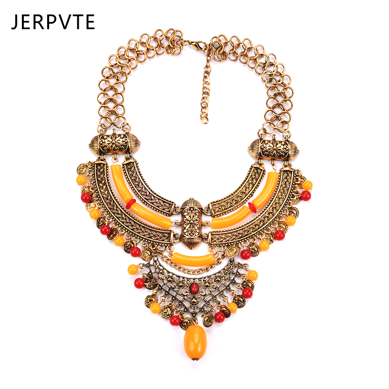 JERPVTE New fashion Choker Necklaces bib collar bohemia Vintage Statement necklaces luxury candy beads pendant Necklaces Jewelry