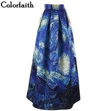 Colorfaith Women Maxi Skirts Van Gogh Starry Sky Oil Painting 3D Digital  Print b26f48b1277c