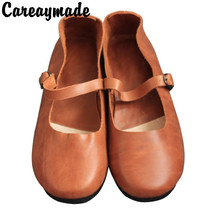Careaymade-2019 new spring and summer pure handmade Genuine leather shoes,retro art small fresh female flat shoes,2 colors