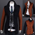 Bleiser fino masculino 2017 homens novo inverno quente cor de costura fashion boutique trespassado trench coat blaser masculino