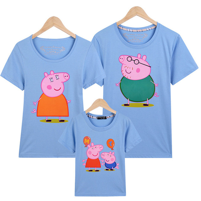 2018 new Couples t shirt Mommy and Me Family Clothes Lovely Pink Pig Family  Look Family Funny Clothes b4866a1bd