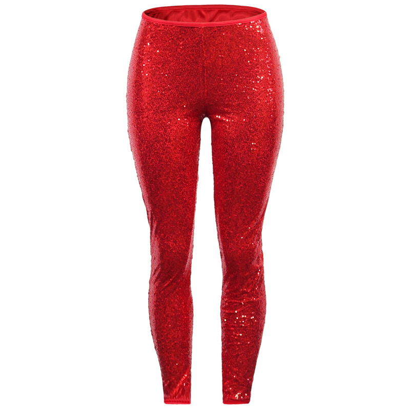 Adogirl New Colors Plus Size S-3XL Sequins Pants for Christmas Party Comfortable Lining Sexy Skinny Pants Slim Trousers for Gift Pants & Capris Women Bottom ! Plus Size Women's Clothing & Accessories