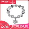 ELESHE mujeres de la marca de lujo de 925 pulsera de plata de cristal de pulsera del encanto para las mujeres DIY perlas pulseras y brazaletes de la joyería de regalo