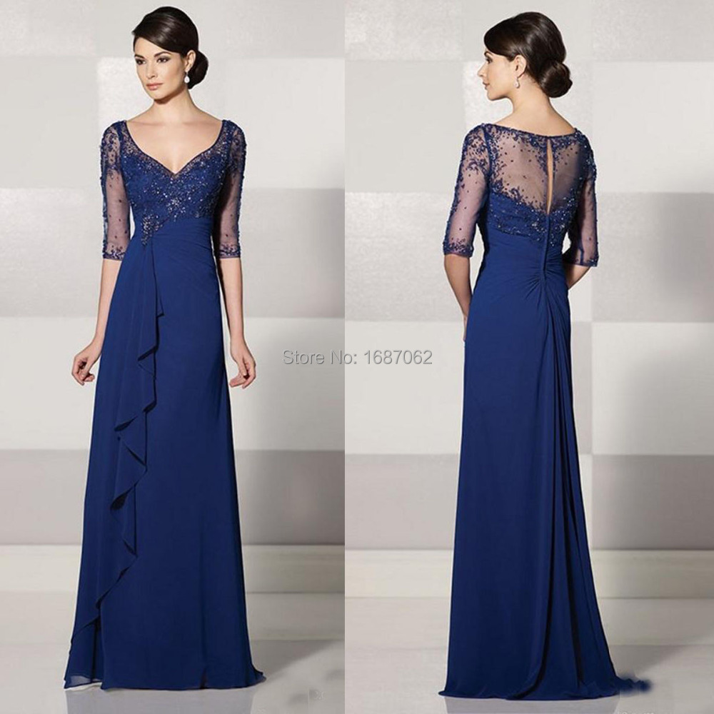 Custom Made Mother Of The Bride Dresses With Sleeves Y V Neck Elegent Vintage Royal Blue Brides New In