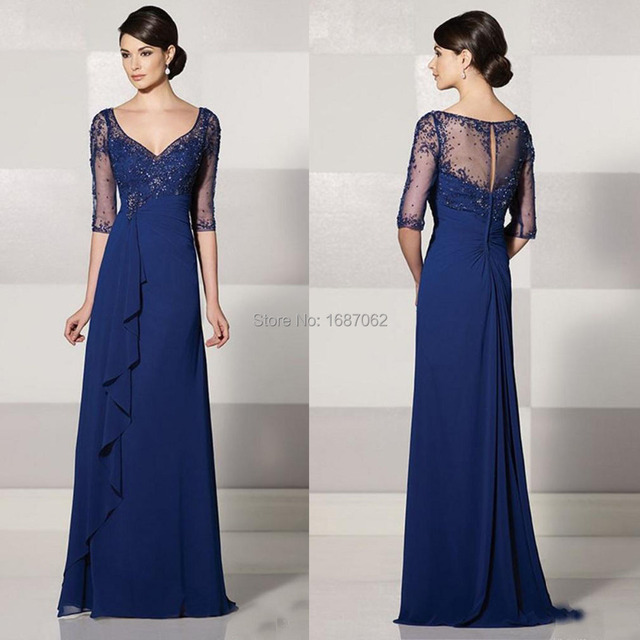 Custom Made Mother Of The Bride Dresses With Sleeves Y V Neck Elegent Vintage Royal