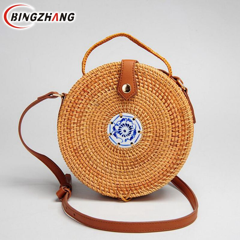 2018 new fashion high quality handmade rattan round shapes shoulder bags leather strap bags straw beach bags L8-253