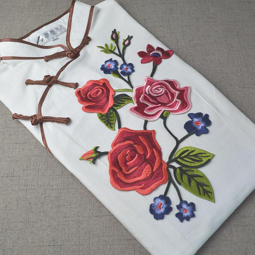 5Designs 18*33cm Rose Applique Flowers Patch Embroidered Sew Iron on Clothes Bags Handma ...