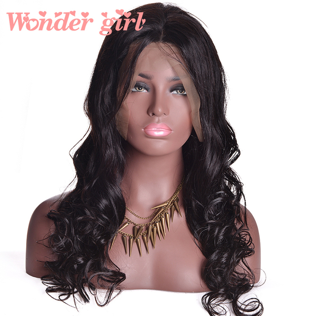 Wonder Girl Malaysian Body Wave Full Lace Wig Natural Color Pre Plucked Full Lace Human Hair Wigs Non-remy Hair