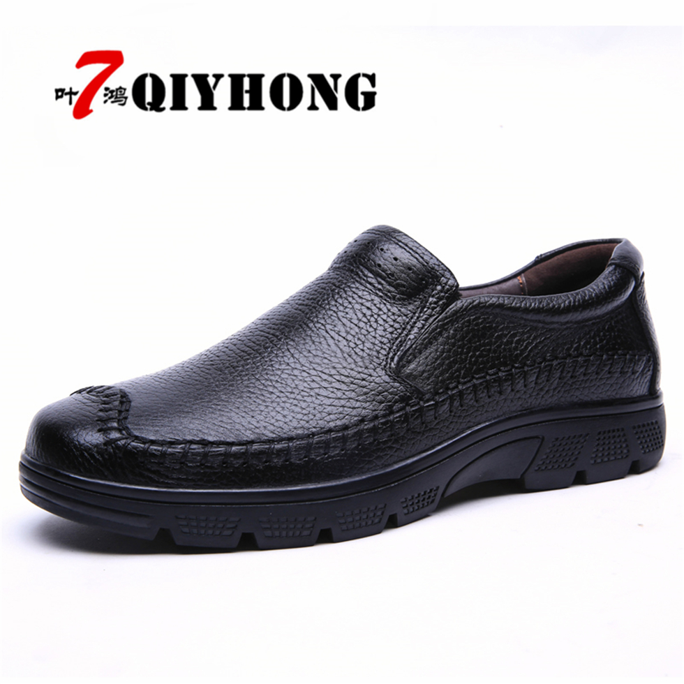 QIYHONG Brand Flats Loafers For Men Shoes Fashion Casual Shoes Men's 100% Genuine Leather Handmade Driving Shoes Big Size 37-50 camel active 2018 new authentic brand casual men genuine leather loafers shoes handmade moccasins shoes outdoor flats plus size