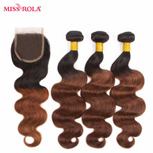 Miss Rola Hair Peruvian Body Wave Hair Weaving 3 Bundles With Closure #T1B/33 Color  100% Human Hair Non-Remy Hair Extensions