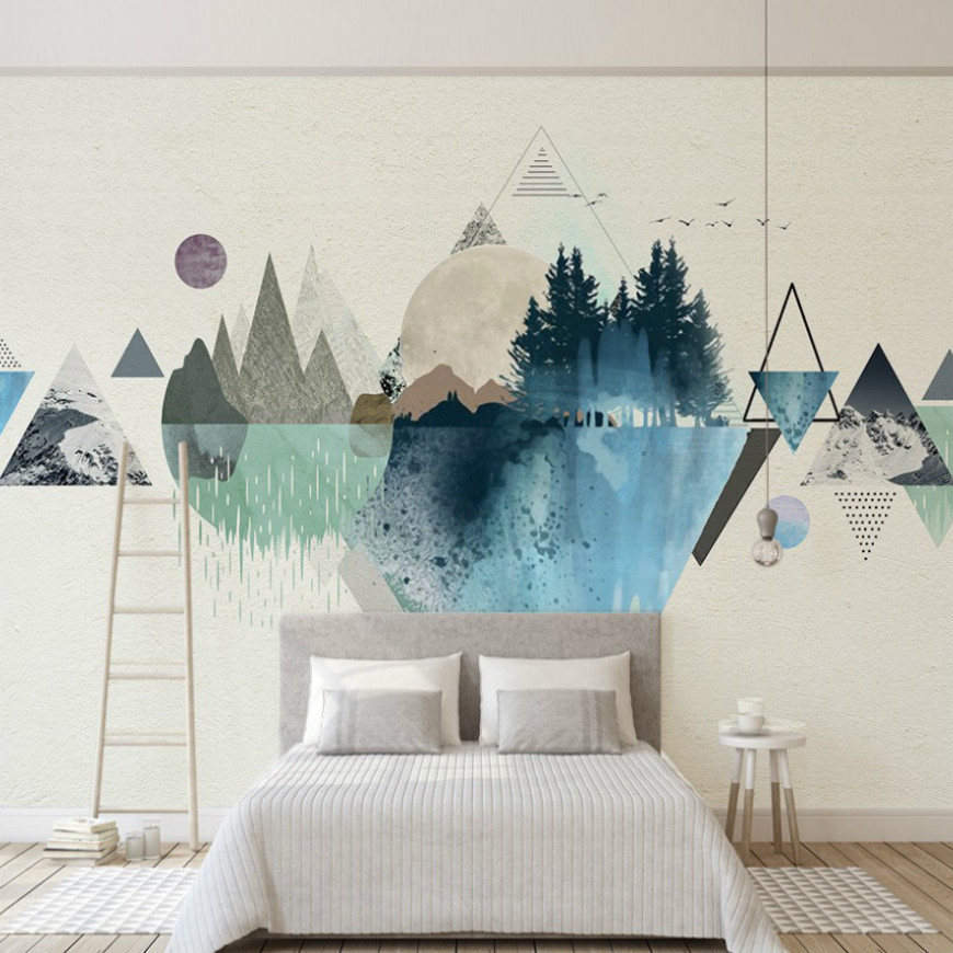 Free Shipping 3d Pink And Blue Wallpaper Geometric Pattern Black And White Color Bedroom Wallpaper Custom Photo 3d Mural купить недорого в Москве